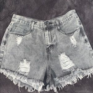 ripped blue jean short